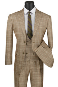 Vinci 2-Button Camel Tan Glenplaid Suit with Low-Cut Vest