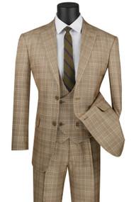 Vinci 2-Button Camel Tan Glenplaid Suit with Low-Cut Vest