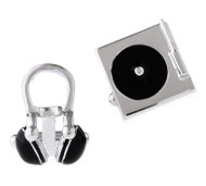 Silver Record Player with Headset Cufflinks (V-CF-70995-S)