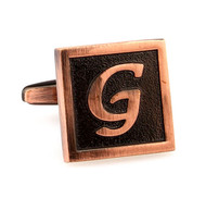Copper Tone Personalized Initial Cufflinks Letter G