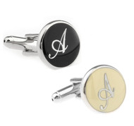 Personalized Initial Cufflinks Letter A - Two Tone (V-CF-1684BS-ATT)