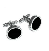 Round Black Enamel Cufflinks (V-CF-E70238B)