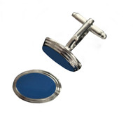Blue Enamel Oval Design Cufflinks (V-FCF-50108)