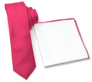 Antonia 100% Silk Tie w/Matching Trimmed Pocket Square - Rose Pink