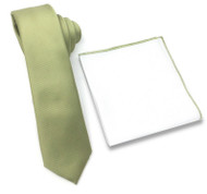 Antonia 100% Silk Tie w/Matching Trimmed Pocket Square - Light Olive