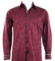 St. Cado Burgundy Contrasting Cuff Fashion Sport Shirt - Button Cuff