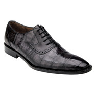 Belvedere Genuine Alligator Hand & Calf Tie Dress Shoe - Charcoal