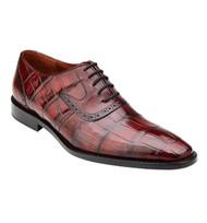 Belvedere Genuine Alligator Hand & Calf Tie Dress Shoe - Wine