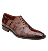 Belvedere Genuine Alligator Hand & Calf Tie Dress Shoe - Brown