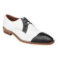 Belvedere Genuine Ostrich Leg Tie Shoe - Black & White