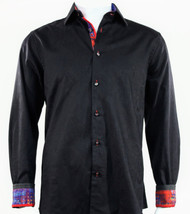 St. Cado Black, Red & Blue Contrasting Cuff Fashion Sport Shirt - Button Cuff