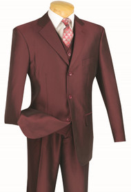 Vinci 3-Button Pleated Slacks Burgundy Sharkskin Suit