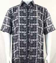 Bassiri Grey Block Pattern Short Sleeve Camp Shirt