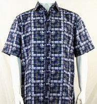 Bassiri Blue Block Pattern Short Sleeve Camp Shirt
