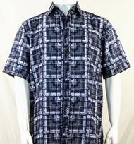 Bassiri Blue Block Pattern Short Sleeve Camp Shirt