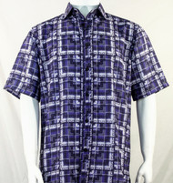 Bassiri Purple Block Pattern Short Sleeve Camp Shirt
