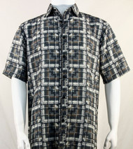 Bassiri Taupe & Grey Block Pattern Short Sleeve Camp Shirt