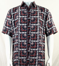 Bassiri Red & Grey Block Pattern Short Sleeve Camp Shirt
