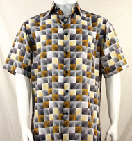 Bassiri Gold & Black Illusion Pattern Short Sleeve Camp Shirt