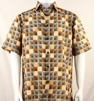 Bassiri Melon & Black Illusion Pattern Short Sleeve Camp Shirt