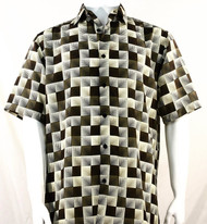 Bassiri Olive & Cream Illusion Pattern Short Sleeve Camp Shirt