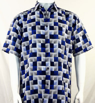 Bassiri Royal & Black Illusion Pattern Short Sleeve Camp Shirt