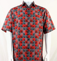 Bassiri Red & Charcoal Illusion Pattern Short Sleeve Camp Shirt