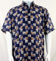 Bassiri Navy & Taupe Illusion Pattern Short Sleeve Camp Shirt