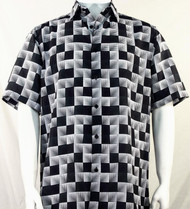 Bassiri Black & White Illusion Pattern Short Sleeve Camp Shirt