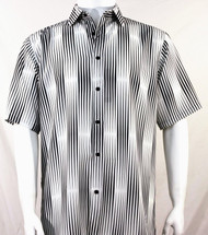 Bassiri White & Black Illusion Stripes Short Sleeve Camp Shirt