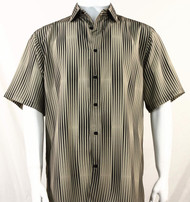 Bassiri Tan & Black Illusion Stripes Short Sleeve Camp Shirt