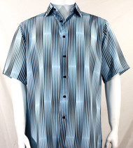 Bassiri Light Blue & Black Illusion Stripes Short Sleeve Camp Shirt