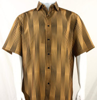 Bassiri Gold & Black Illusion Stripes Short Sleeve Camp Shirt