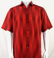 Bassiri Red & Black Illusion Stripes Short Sleeve Camp Shirt