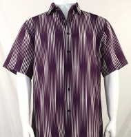 Bassiri Plum & Ivory Illusion Stripes Short Sleeve Camp Shirt