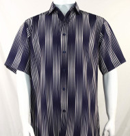 Bassiri Dark Purple Illusion Stripes Short Sleeve Camp Shirt