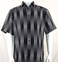 Bassiri Black & White Illusion Stripes Short Sleeve Camp Shirt