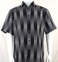 Bassiri Black & White Illusion Stripes Short Sleeve Camp Shirt