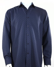 Outlet Center: Bassiri Diamond Weave Sleeve Camp Shirt - Dark Blue