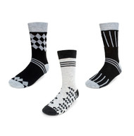 Parquet Men's Stylish Socks Grey & Black Designs - 3 Pairs