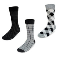 Parquet Men's Stylish Socks Grey & Black Patterns - 3 Pairs