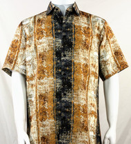 Bassiri Black & Gold Blotch Pattern Short Sleeve Camp Shirt