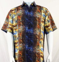 Bassiri Brown and Gold Abstract Short Sleeve Camp Shirt