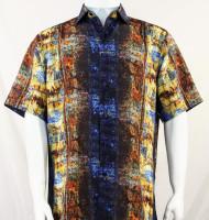 Bassiri Brown and Gold Abstract Short Sleeve Camp Shirt