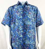 Bassiri Blue Leaf Pattern Short Sleeve Camp Shirt