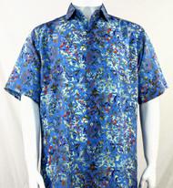 Bassiri Blue Leaf Pattern Short Sleeve Camp Shirt