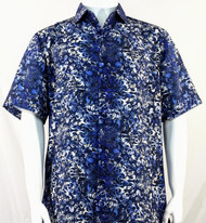 Bassiri Dark Blue Leaf Pattern Short Sleeve Camp Shirt
