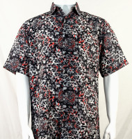 Bassiri Black with Red Leaf Pattern Short Sleeve Camp Shirt