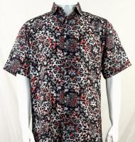 Bassiri Black with Red Leaf Pattern Short Sleeve Camp Shirt