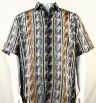 Bassiri Orange and Grey is Wave Pattern Short Sleeve Camp Shirt